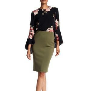 Catherine Malandrino olive green pencil skirt